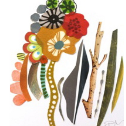 Regina Hall, Collage, Blooms, painted paper, fabric, framed