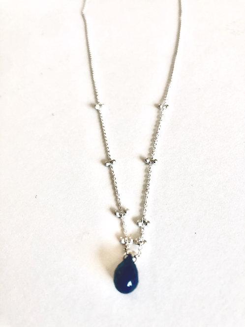 "Lapis Solitaire Necklace, Silver Chain 18"""
