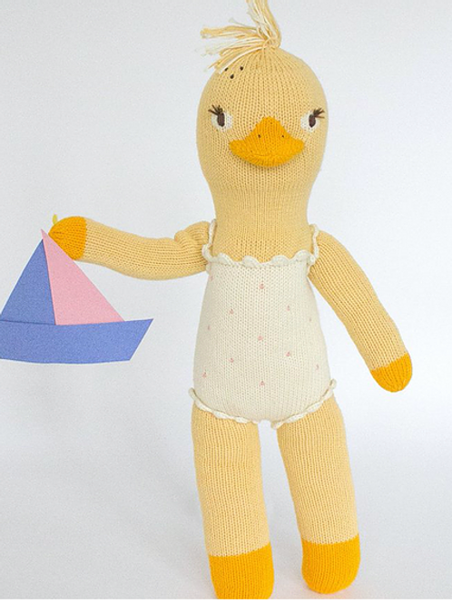 """Lucille the Duck, 100% cotton knit doll, 12"""""""