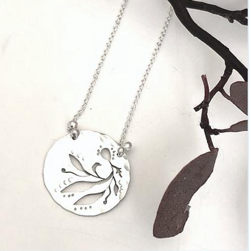 """Garden Disc Necklace silver 18"""""""