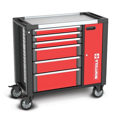 Carrello porta attrezzi da officina con 6 cassetti e scomparto laterale