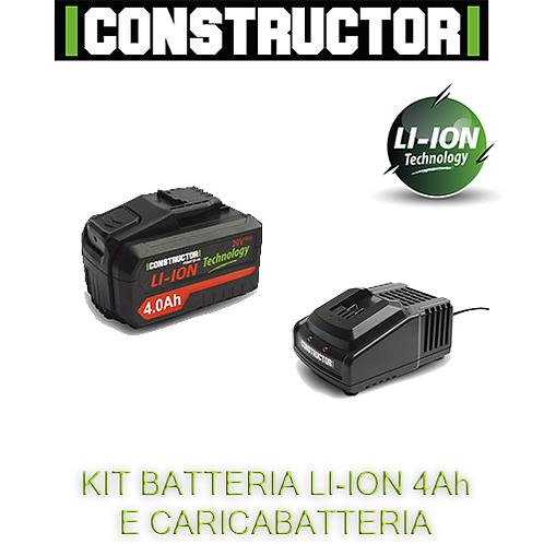 Kit caricabatterie rapido e batteria Li-ion 4Ah