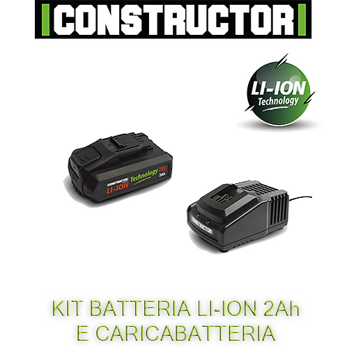 Kit caricabatterie rapido e batteria Li-ion 2Ah