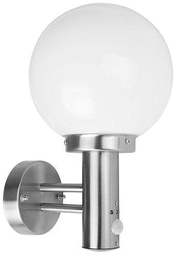 Applique a sfera da esterno in acciaio INOX con fotocellula, attacco lampada E27