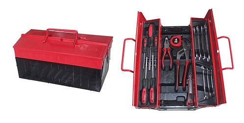 Set cassetta portautensili metallica con tre scompartimenti e kit 41 attrezzi
