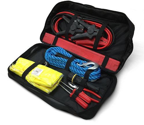 Kit sicurezza auto (gilet catarifrangenti/guanti/attrezzi/cavi/lampadina)