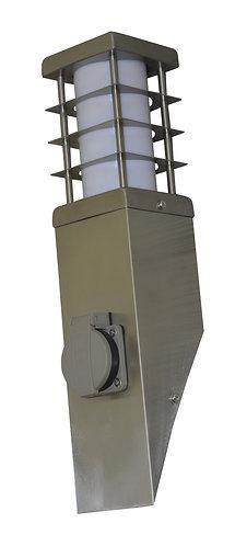 Lampioncino da esterno in acciaio INOX con presa di corrente, altezza 38 cm