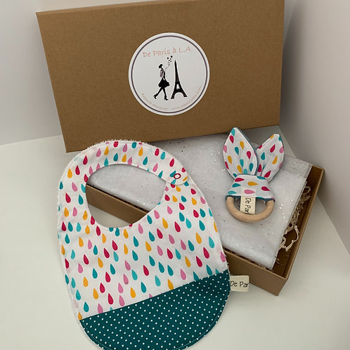 Set of Bib and Bunny Rattle (in Box)