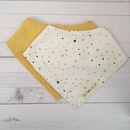 Bandana Bib/ Organic Bamboo Fabric and Cotton or Double Gauze