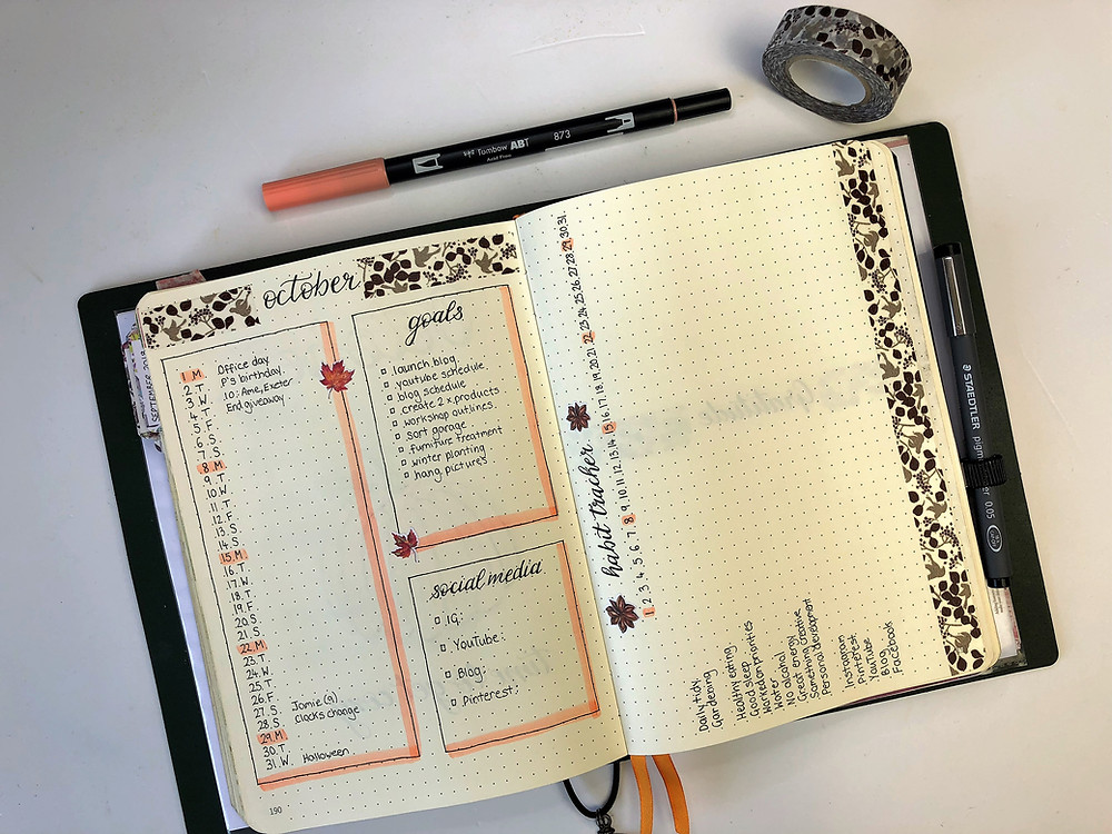 Bullet journal Calendar Habit Tracker