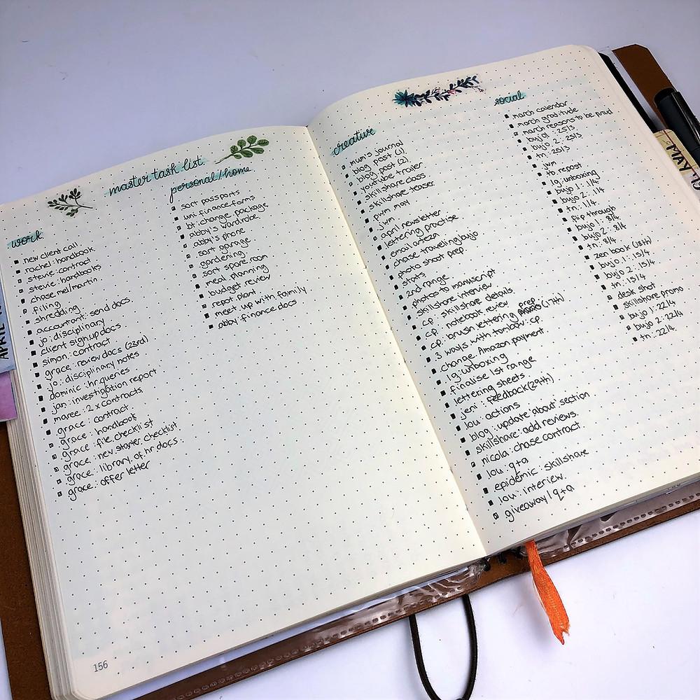 Bullet Journal Task List