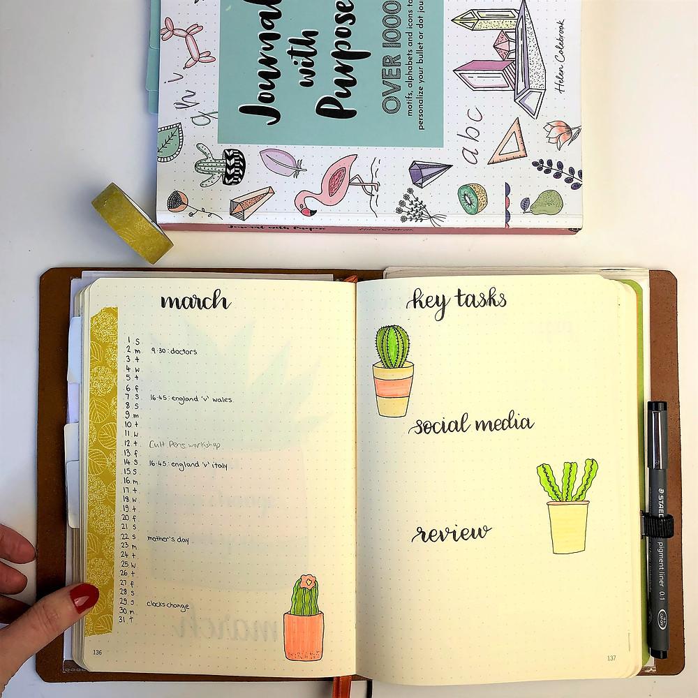 March Bullet Journal Calendar