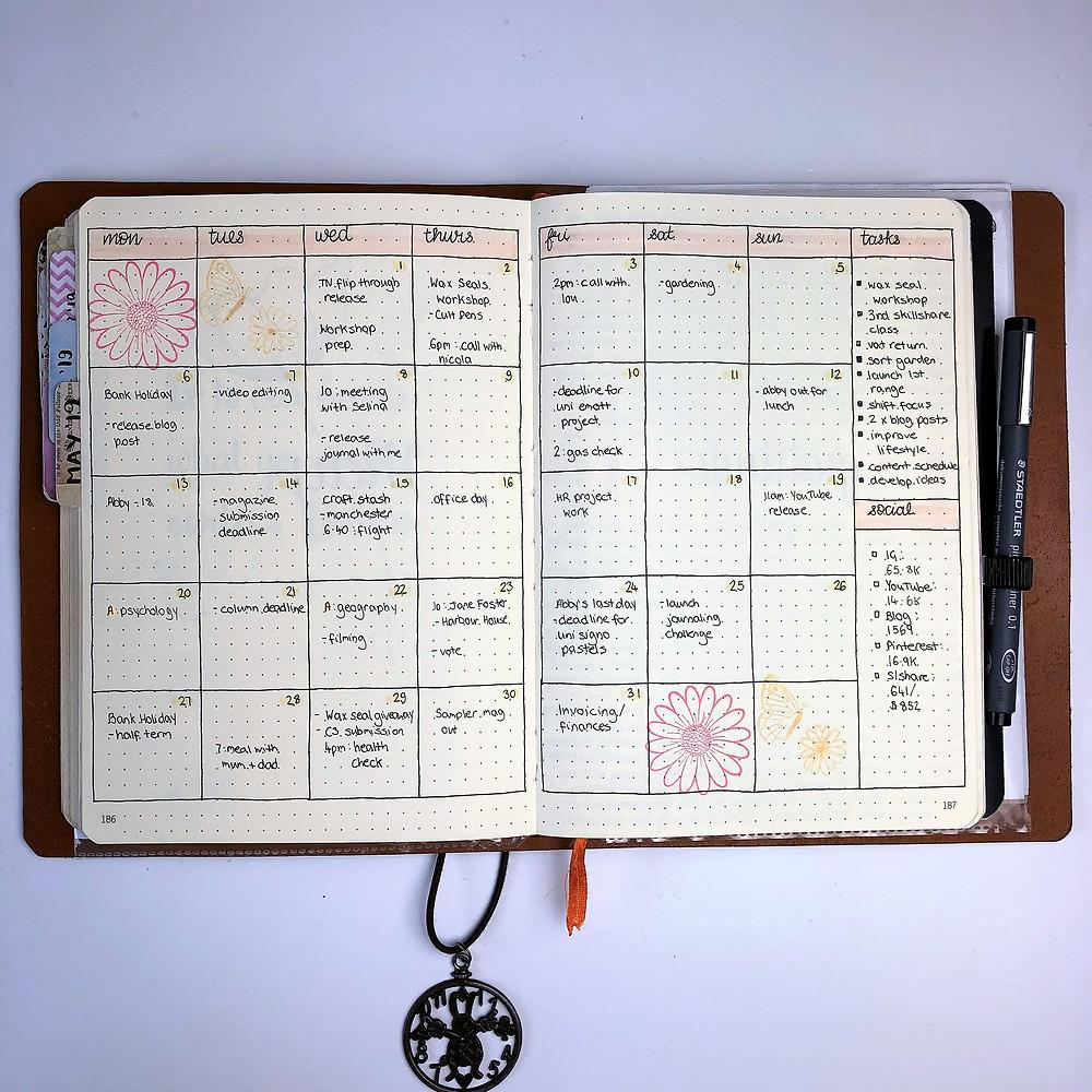 Bullet Journal Monthly Calendar