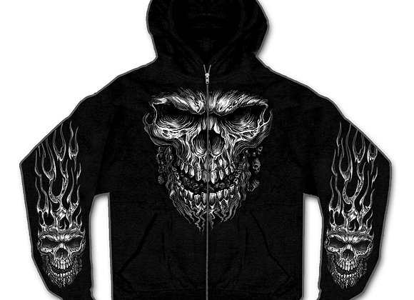 HOT LEATHERS SHREDDER SKULL HOODY HOODED ZIPPER SWEATSHIRT