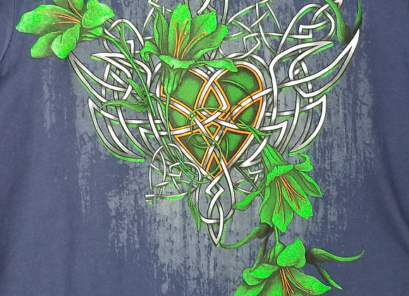 HOT LEATHERS  NAVY BLUE CELTIC HEART WITH FLOWERS WOMEN'S T SHIRT