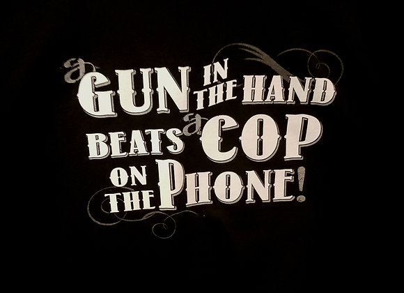 """HOT LEATHERS """"GUN IN HAND"""" BLACK 100% COTTON T SHIRT"""