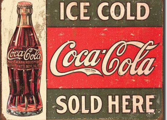 "ICE COLD COCA COLA SOLD HERE 16"" X 12.5"" RETRO REPRODUCTION TIN SIGN"