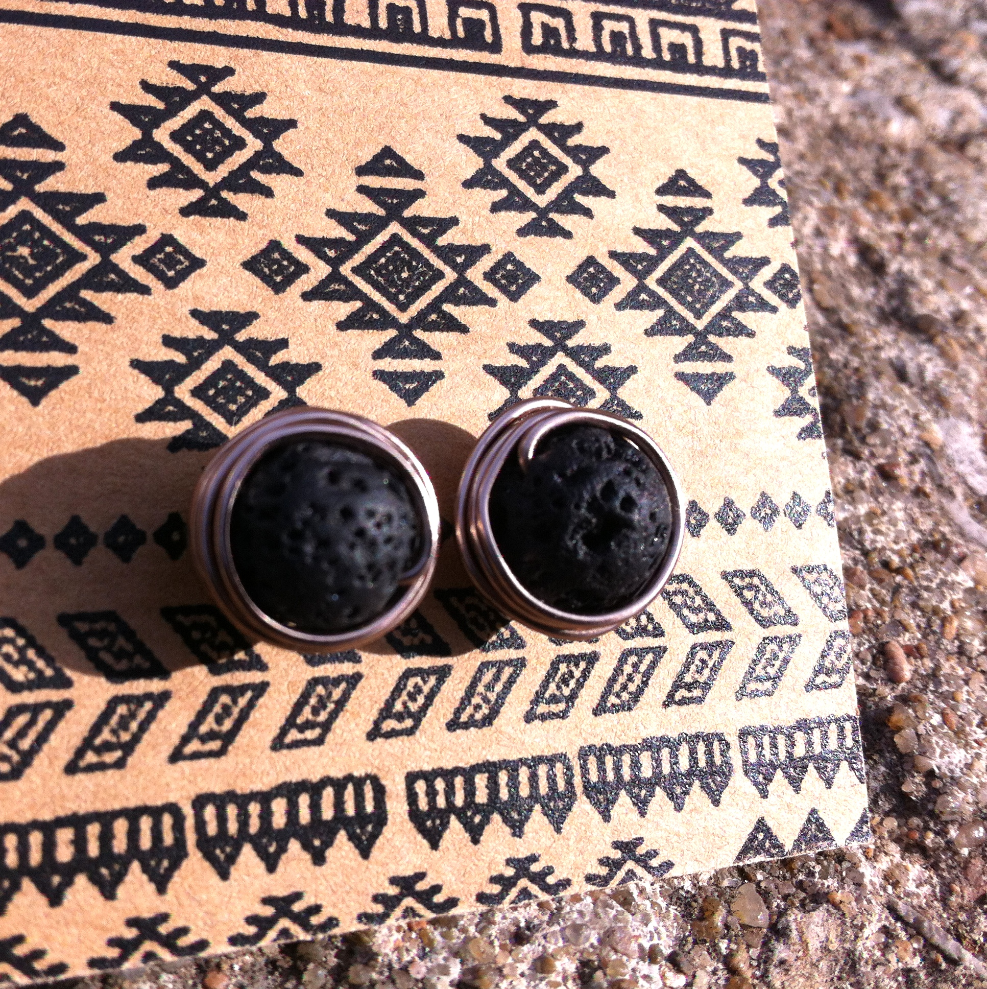 copper lava studs