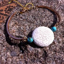 white lava coin bracelet