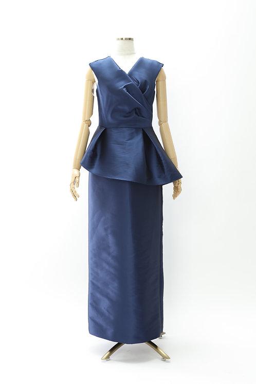 サテンペプラムロングドレス