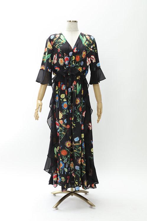 DRESS FREIA | フラワープリントドレス(ブラック)