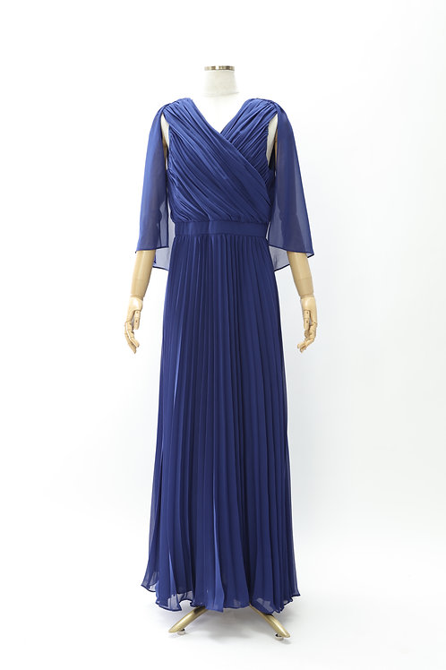 プリーツケープロングドレス
