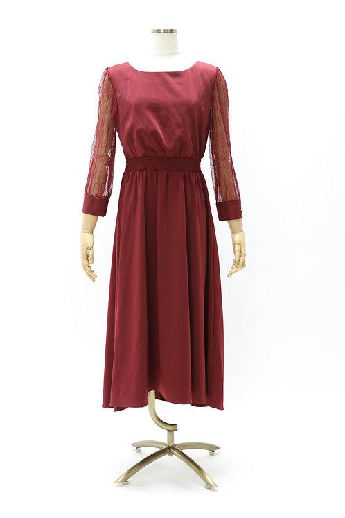 DRESS FREIA   ロングスリーブドレス(ボルドー)