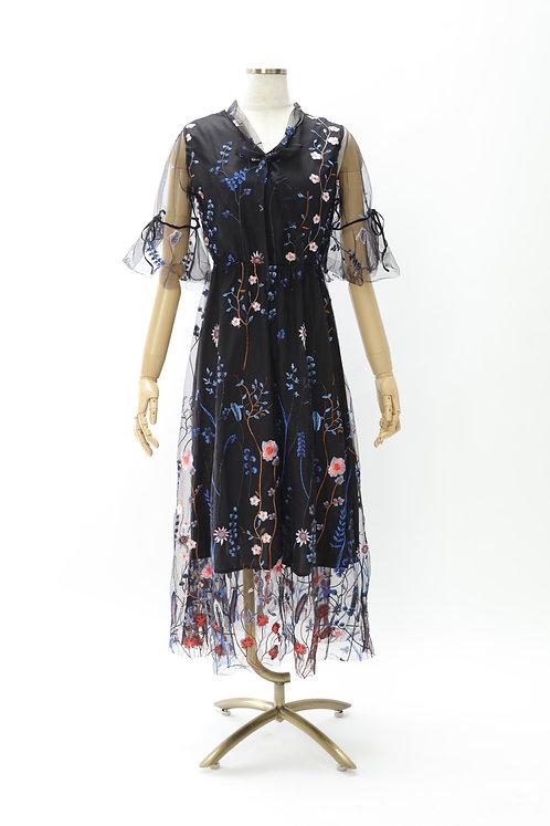 Kaimilan   フラワーリボンドレス(ブラック)
