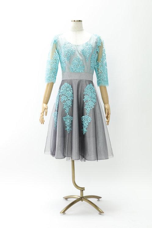 DRESS FREIA 特注オリジナルドレス | シルクレースドレス(ミントグリーン×グレー)