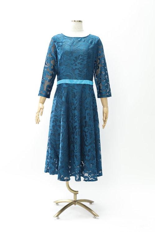 DRESS FREIA | レースドレス(トルコブルー)