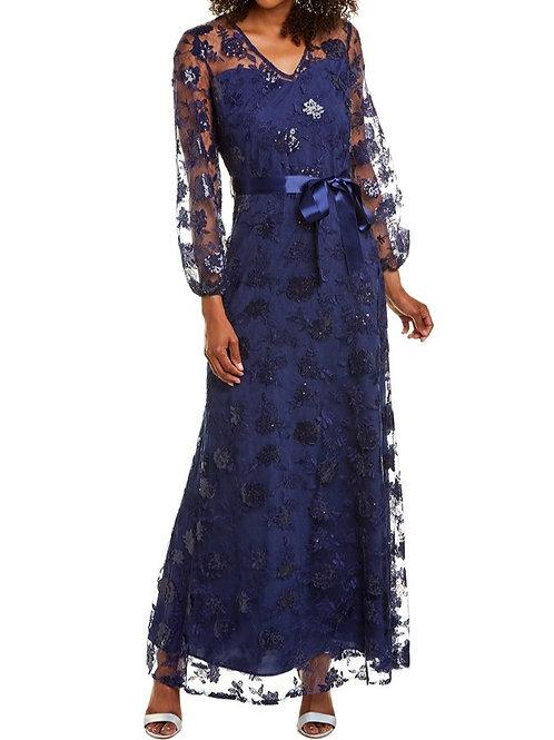 スパンコールロングスリーブロングドレス