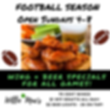 Football specials $2 Bud Ligth Drafts 75 cent wings and Sunday Hours