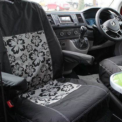 VW T5/T6 Single Front Seat Cover - HIBISCUS