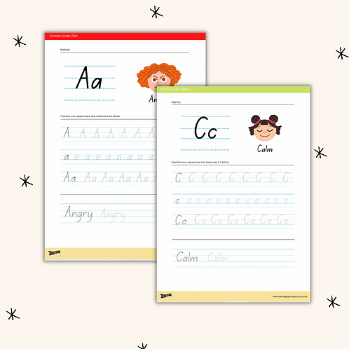 Emotions A-Z Letter Tracing