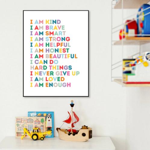 'I Am' Positive Affirmations Poster - A4