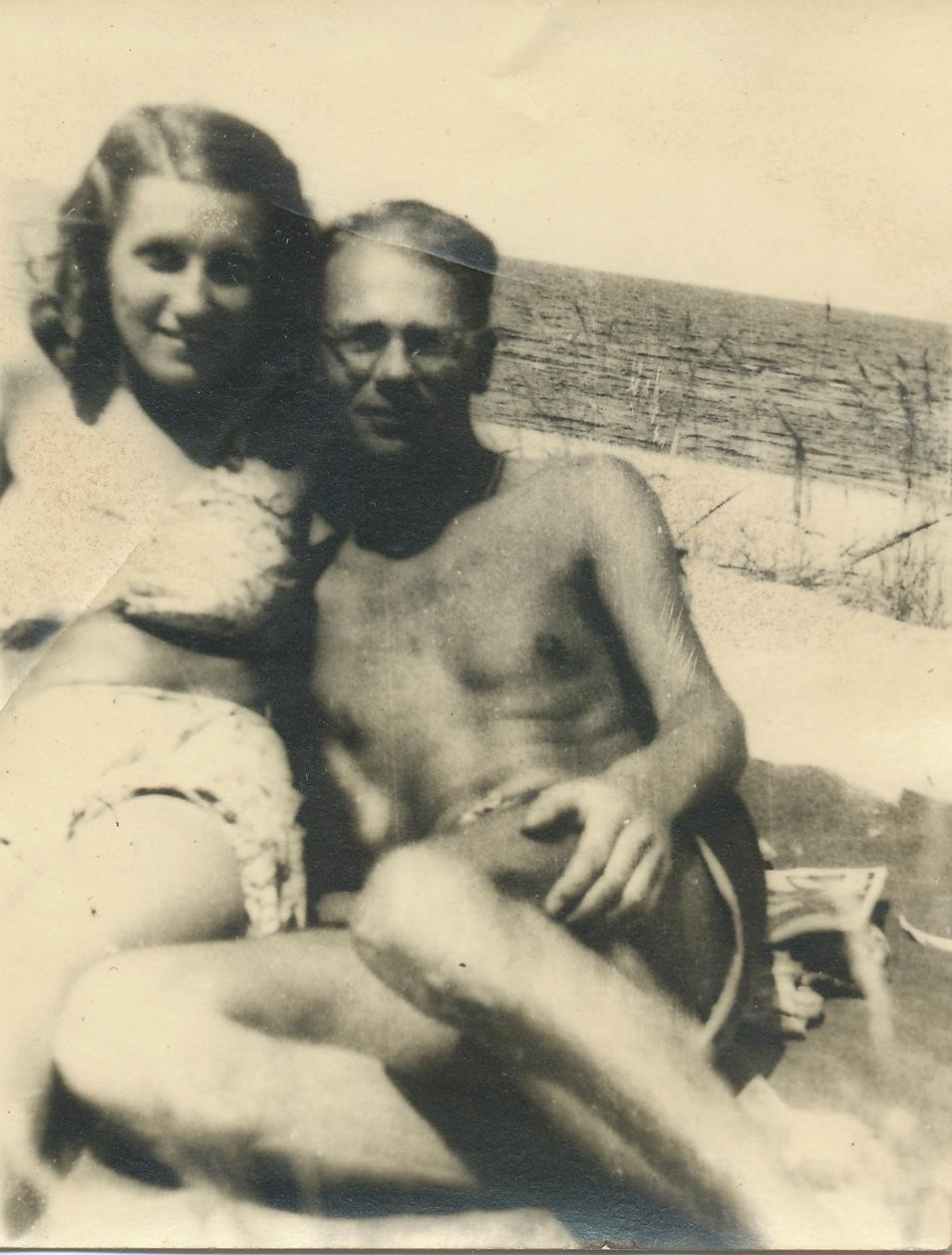 Christof Stribning and unknown woman, c.1941. Jūrmala, Latvia.