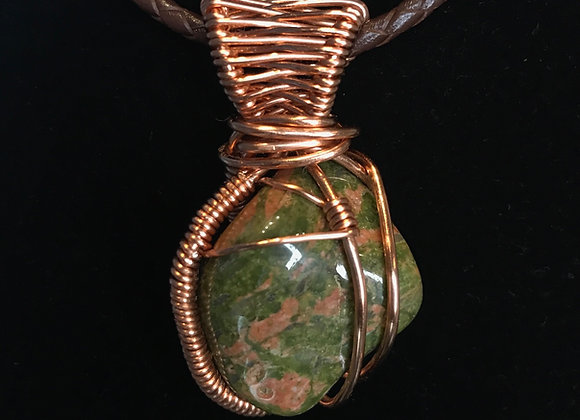 Wrapped Unakite Jasper Necklace, Courtesy of One Thirty One