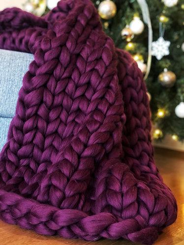 Švestková merino deka