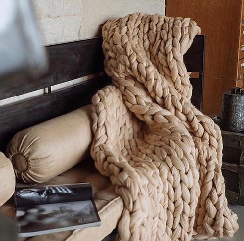 Béžová merino deka