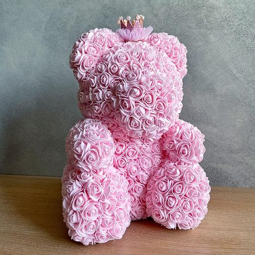 Růžový medvídek s korunkou