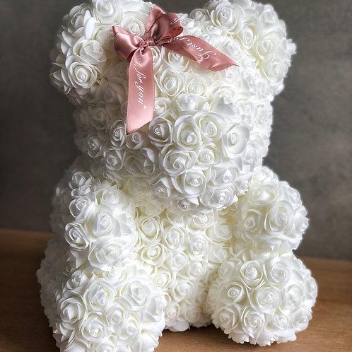 Bílý medvídek s mašlí