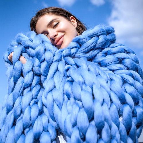 Modrá merino deka