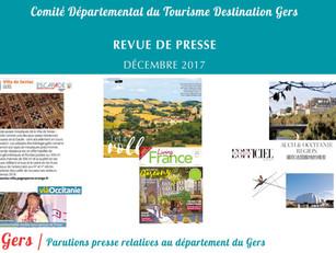 Le Gers dans les médias :  40 articles ont vanté la Destination au mois de décembre !