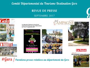 Le Gers dans les médias :  90 articles ont vanté la Destination au mois de septembre !