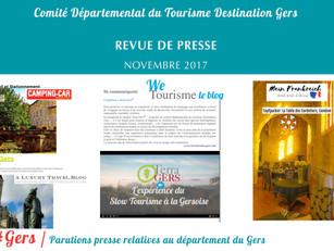 Le Gers dans les médias :  45 articles ont vanté la Destination au mois de novembre !
