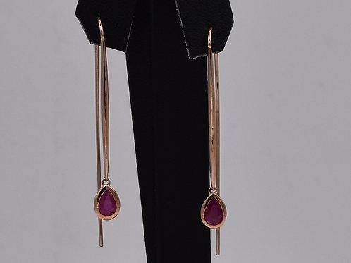 Oval Ruby Fish Hook Earrings