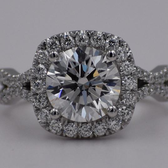 Platinum Cushion Halo Split Shank Engagement Ring with Round Diamond