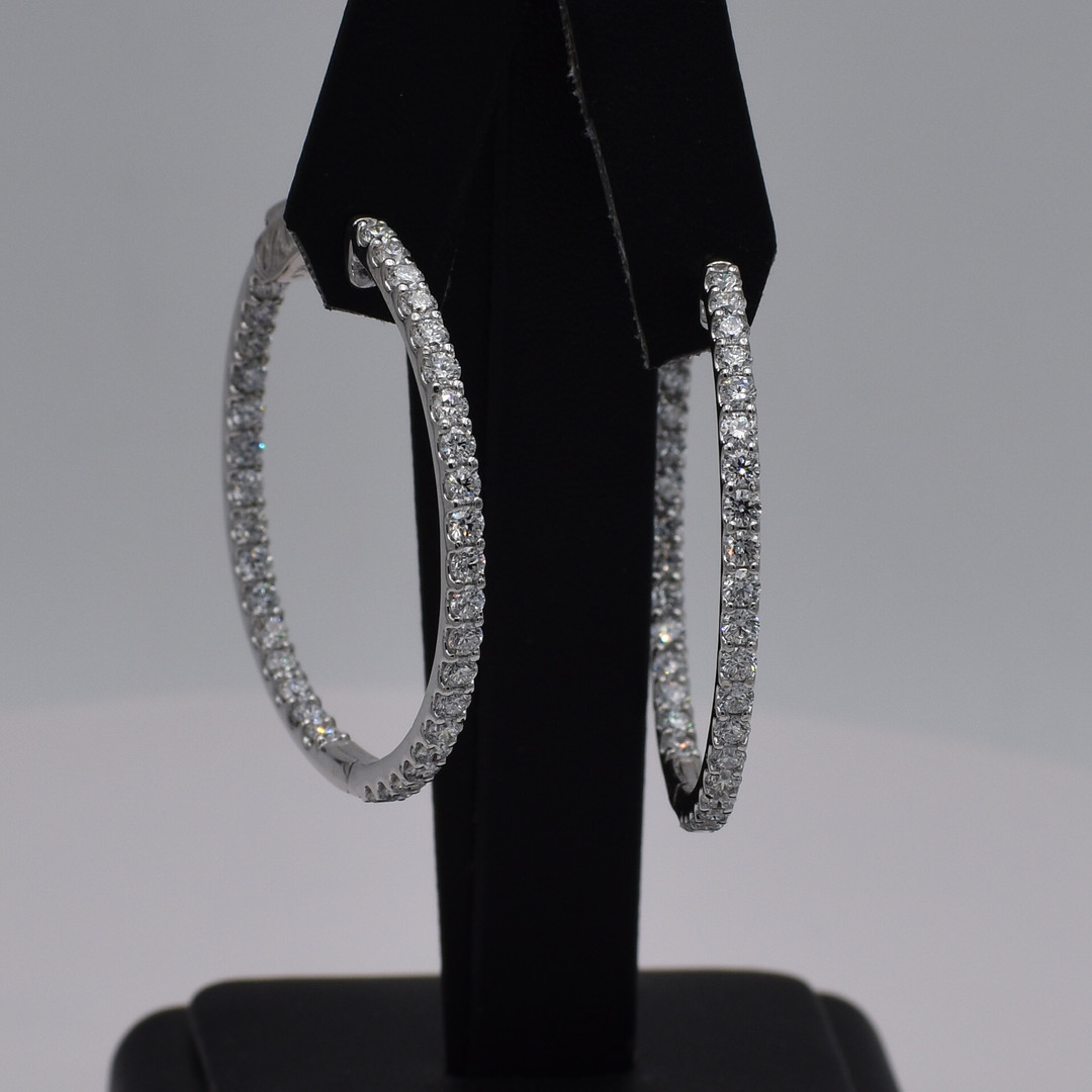 14 Karat White Gold Inside Out Diamond Hoops