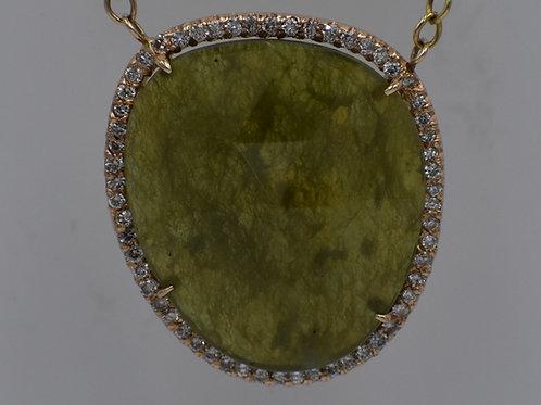Asymmetrical Green Garnet Diamond Pendant