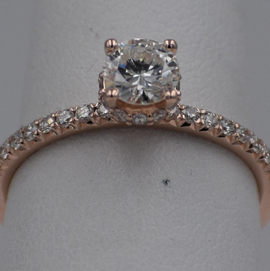 Rose Gold Round Side Halo French Set Diamond Engagement Ring